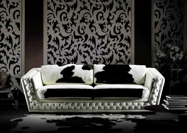 design leder couch sofort lieferbar ponyfell garnitur club sofa kristall ebay. Black Bedroom Furniture Sets. Home Design Ideas