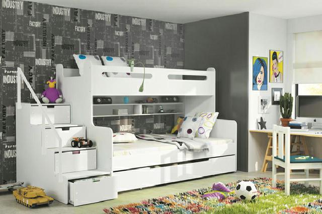 Etagenbett Doppelbett : Bambino bett etagenbett doppelbett kinderbett weiss emoebel